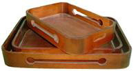 wooden display trays with honey oak finish