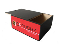 slide lid wooden gift box in black finish