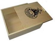 new wooden gift box with screen print logo